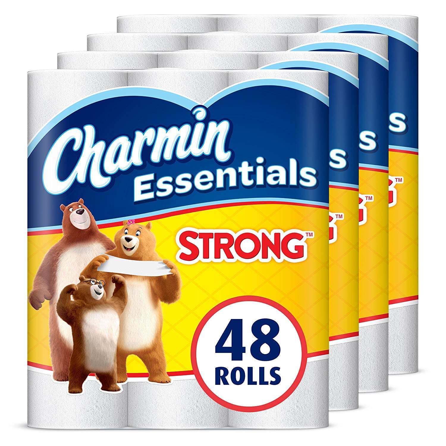 Charmin Essentials Strong Toilet Paper, 1-Ply, 48 Giant Rolls (Equal to 108 Regular Rolls) by Charmin