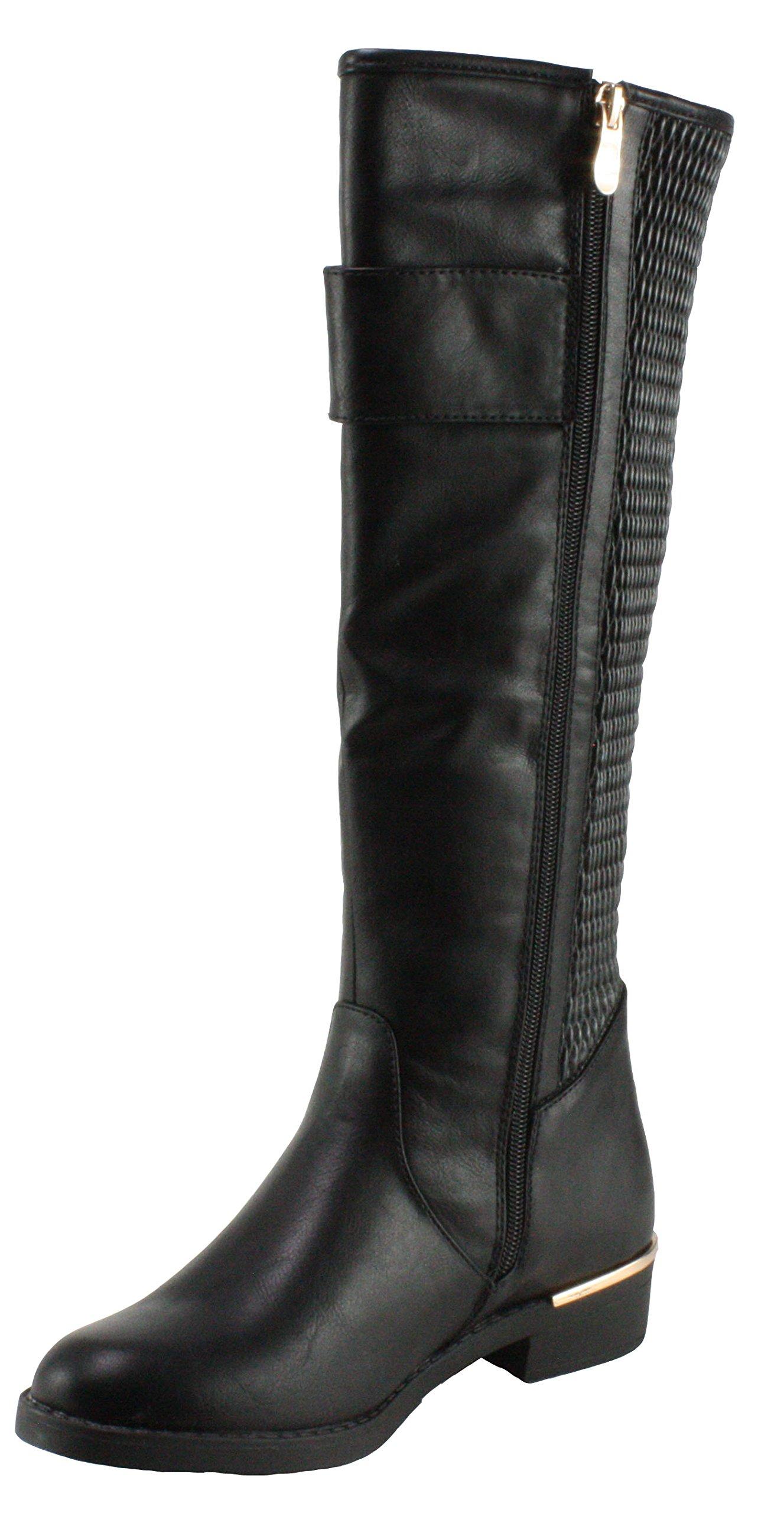 Top Moda Women's Ginger-1 Round-Toe Knee High Low Heel Boots,Black,7