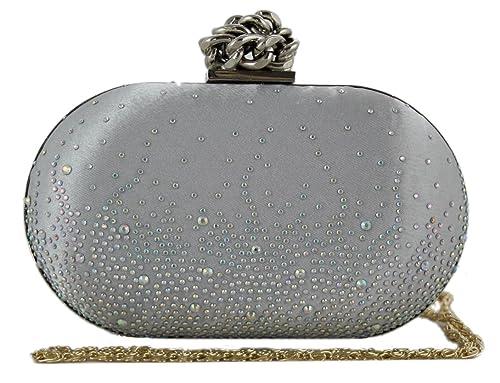 Girly Handbags Satén Duro Caja Caja Del Bolso De Bolsa De Embrague Del Nudo De Cierre Para Mujer De Noche De La Vendimia De La Cadena: Amazon.es: Zapatos y ...