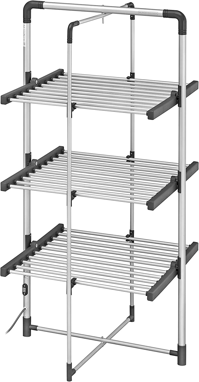 BLACK+DECKER BXAR0007GB 3-Tier Heated Clothes Airer, Cool Grey, 21m Drying Space, 300W, Aluminium 140cm x 73cm x 68cm