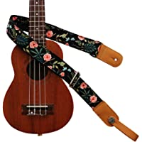 "MUSIC FIRST Original Design""Dark Night Garden"" Soft Cotton & Genuine Leather Ukulele Strap Ukulele Shoulder Strap With a MUSIC FIRST Genuine Leather Strap Locker"