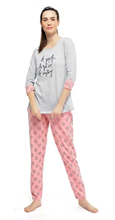 Image Unavailable. Image not available for. Colour  ZEYO Women s Cotton  Grey Floral Print Night Suit b681df843