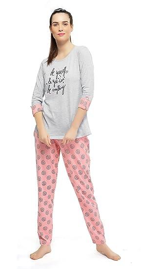 cbdf043f1c0 ZEYO Women s Cotton Grey Floral Print Night Suit  Amazon.in  Clothing    Accessories
