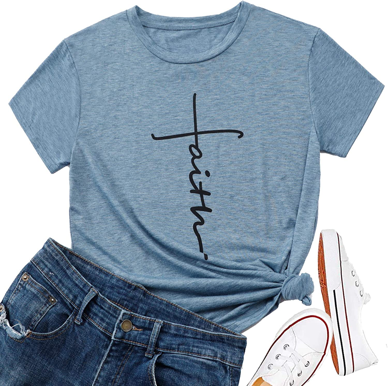Circletee Womens T Shirt Loose Summer Love Inspirational Cotton Short Sleeve Graphic T-Shirt Tops Tees