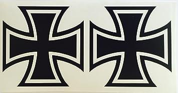Schönheits Shop 2x Eiserne Kreuz Schwarz Iron Cross Sticker Dapper Auto Aufkleber Tuning Oldschool Rat Auto