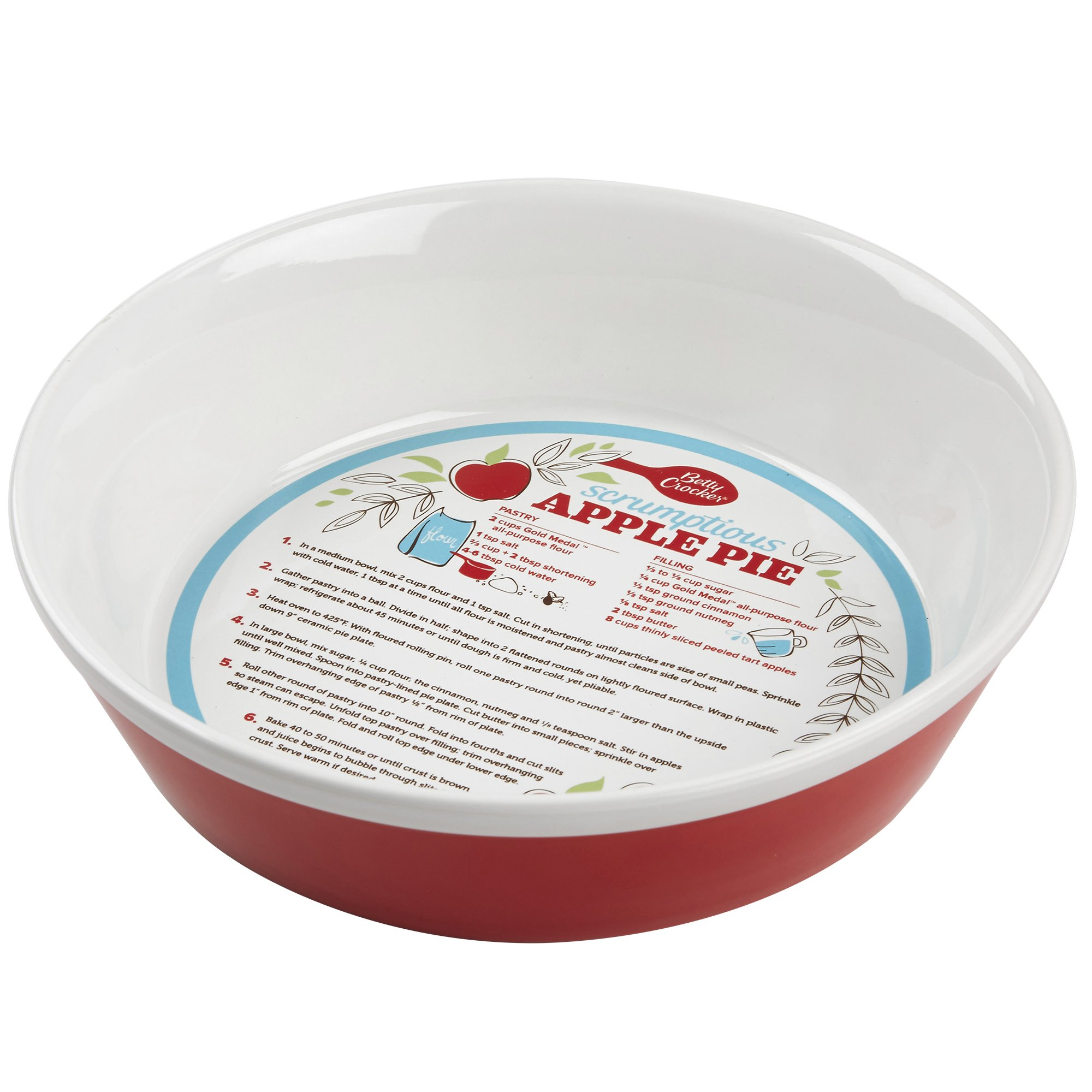 Betty Crocker 28619 Ceramic Pie Plate, Red