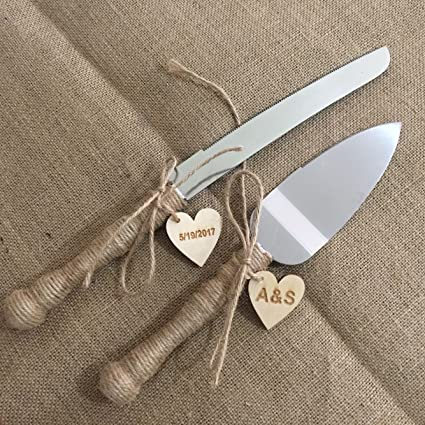 Rustic Wedding Cake Knife And Server Set Personalized Rustic