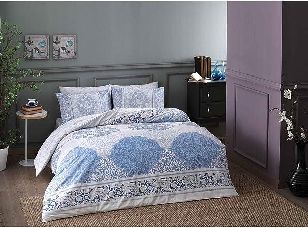 Zorluteks TAC - Juego de funda de edredón y sábanas (100% algodón, incluye sábana bajera), diseño de rayas, color azul: Amazon.es: Hogar