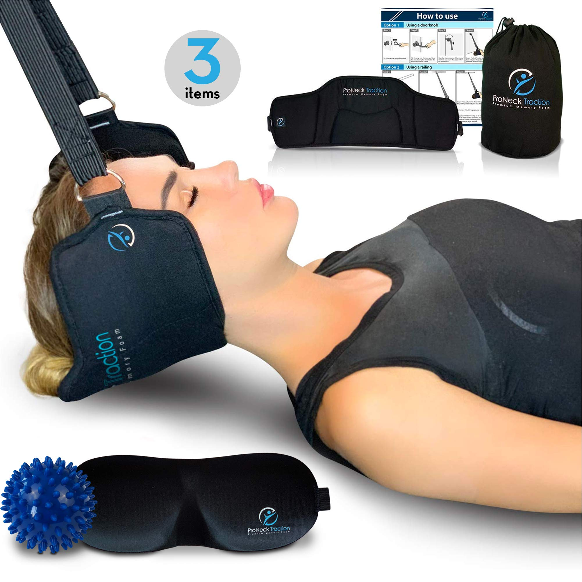 ProNeck Traction, Improved Head Hammock/Cervical Neck Traction. Plus Spiky Ball Massager & 3D Eye Mask - Great Relaxation Gift by ProNeck Traction