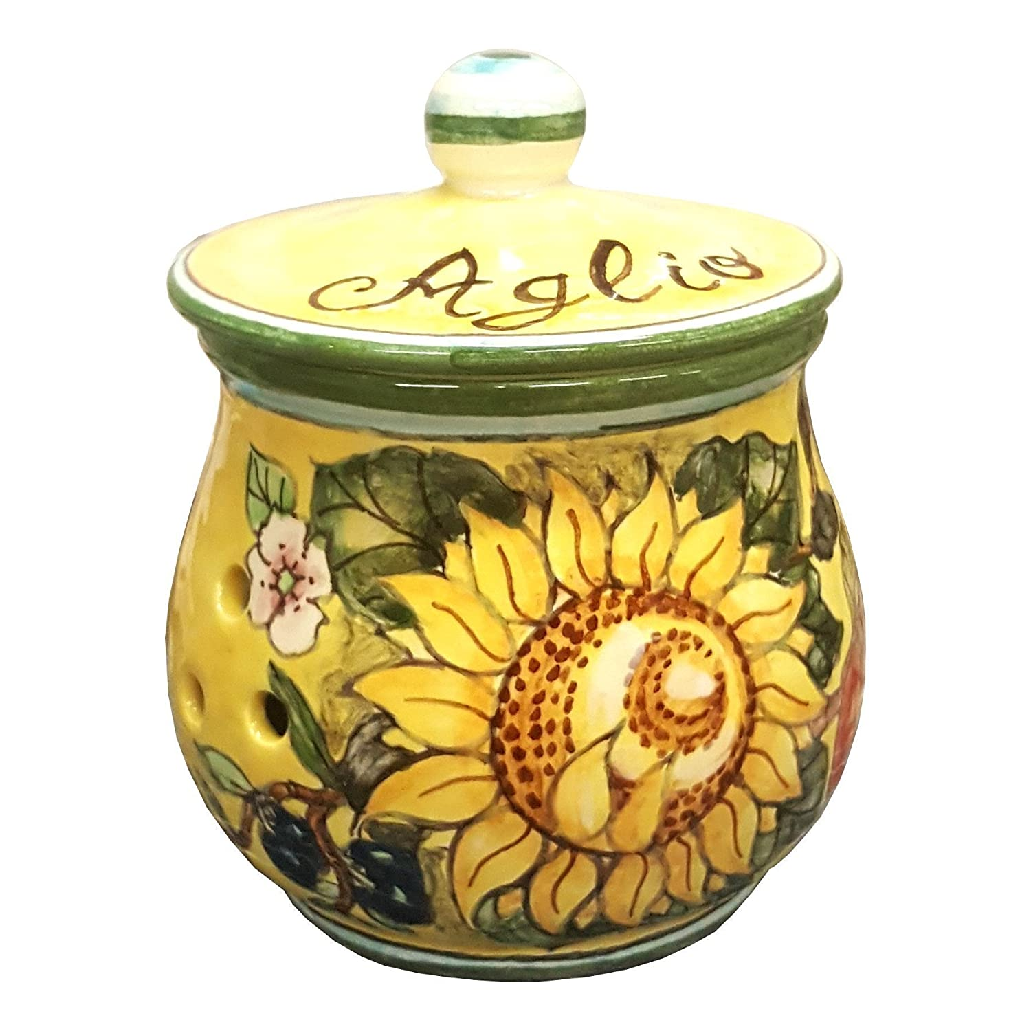 Amazon made in italy handmade products ceramiche darte parrini italian ceramic brings garlic jar holder hand painted decorated sunflower dailygadgetfo Images