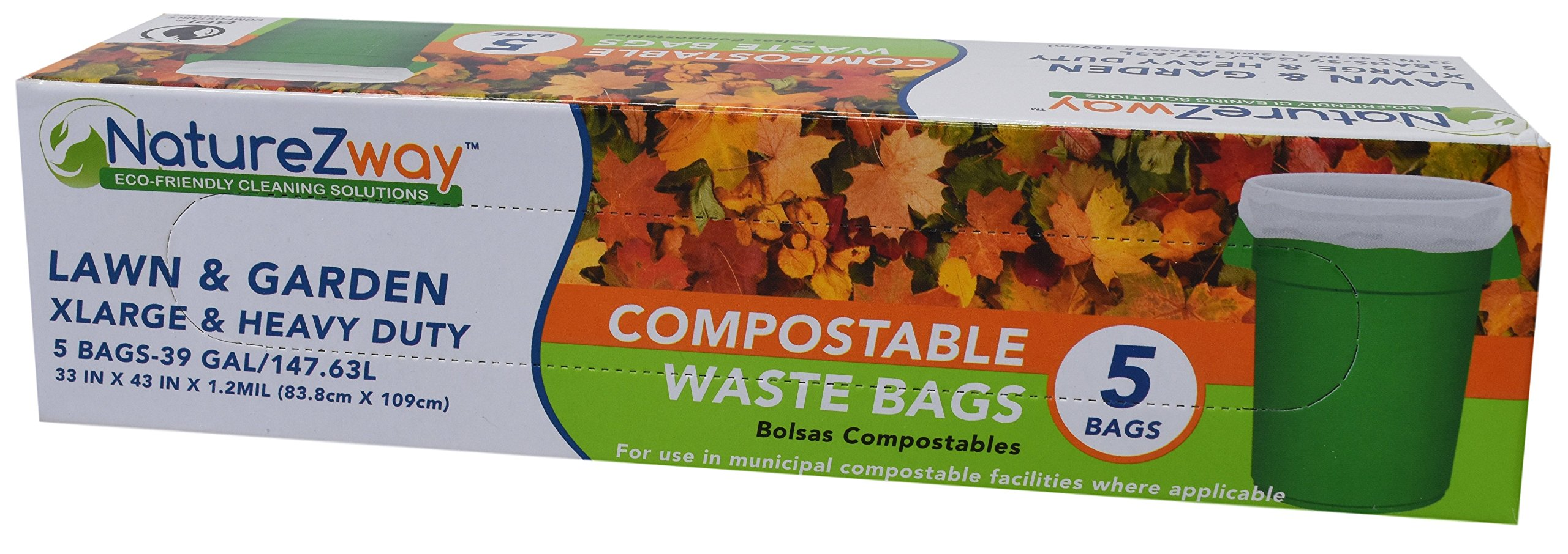 NatureZway - Compostable Waste Bags, 39 Gallon - 5 Count, Pack of 3
