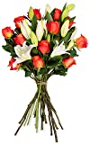 Benchmark Bouquets Orange Roses and White