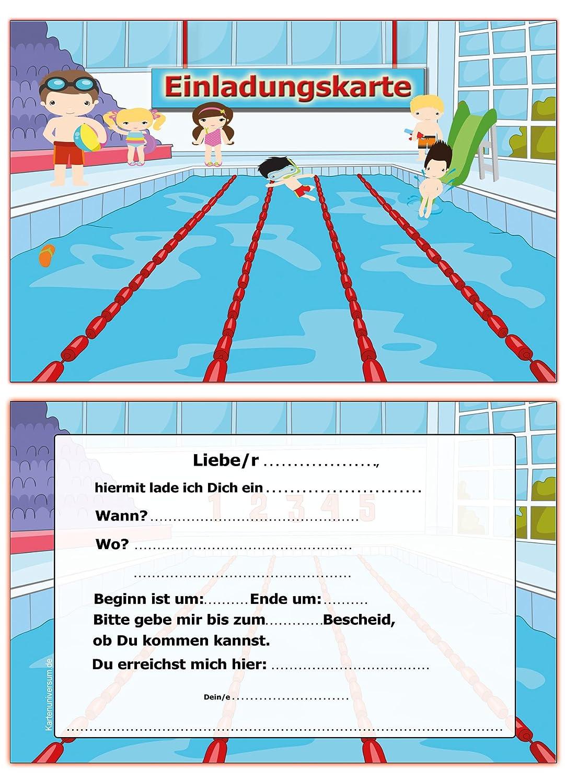 Einladung Kindergeburtstag Schwimmbad Schwimmen Einladungskarten 10:  Amazon.de: Bürobedarf U0026 Schreibwaren