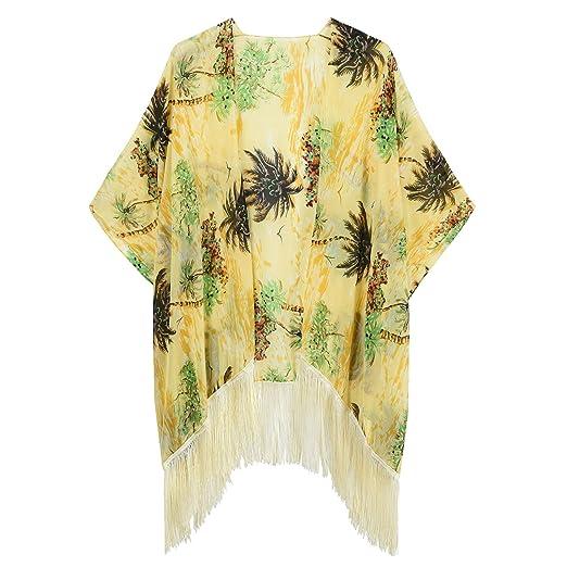 81a231ab47 OurLore Women Kimono Floral Beach Cover Up Swimsuit Beachwear Bikini  Cardigan (Beige)
