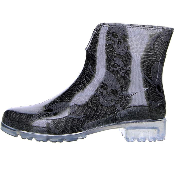 G&G Damen Stiefeletten Gummistiefeletten Regenschuhe Totenkopf Pirat schwarz /anthrazit: Amazon.de: Schuhe & Handtaschen