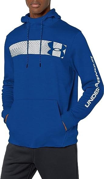 Under Armour Mens Armour Fleece Pullover Hoodie Bar Logo Graphic
