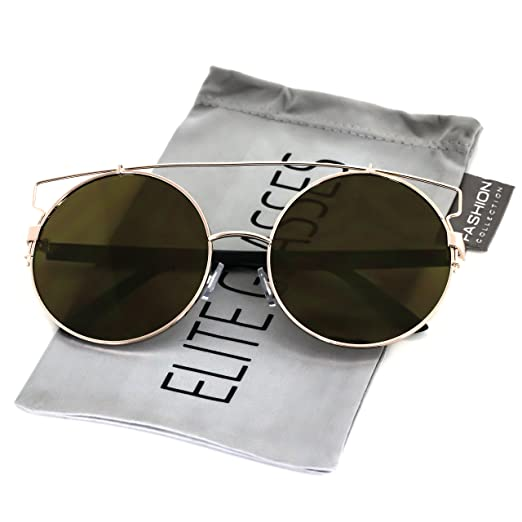 76606ffe638 Elite Double Crossbar Colored Mirror Metal Flat top Round Lens Aviator  Sunglasses (Gold Mirror