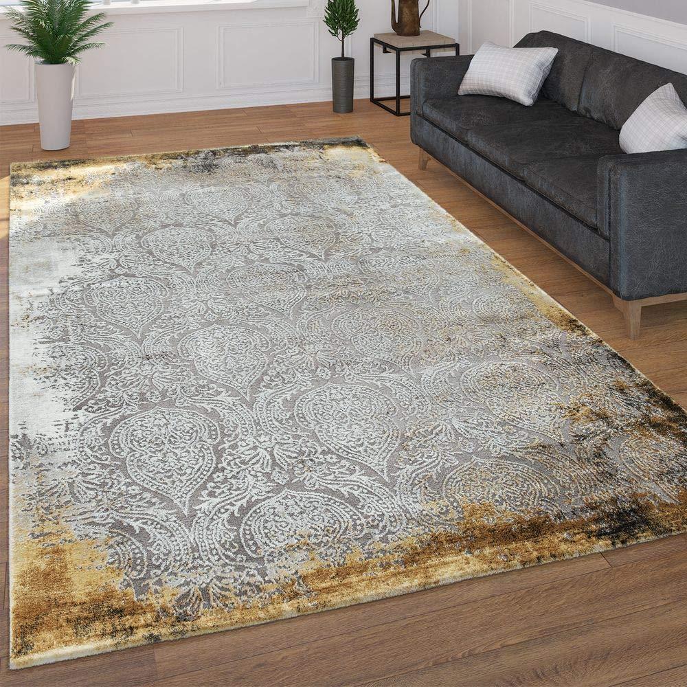Paco Home Moderner Kurzflor Wohnzimmer Teppich 3D Optik Orientalisches Muster In Grau Gelb, Grösse 160x230 cm