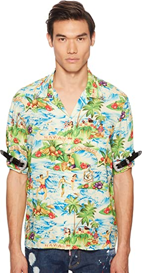 8d360301 Amazon.com: DSQUARED2 Men's Printed Hawaiian Viscose Shirt Multi 50 ...