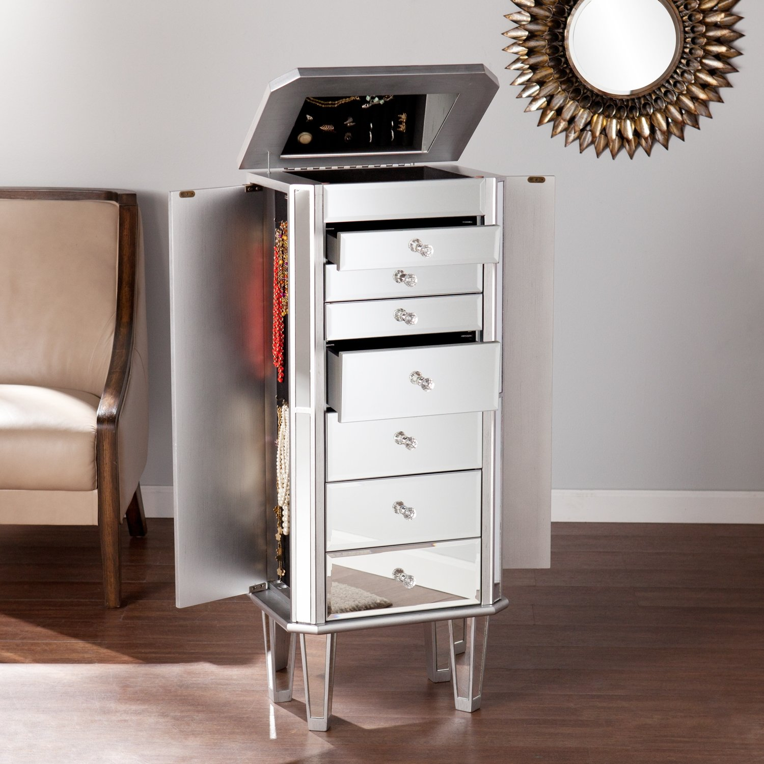 Amazoncom Margaux Mirrored Jewelry Armoire Jewelry