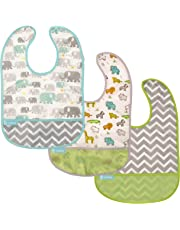 Kushies Cleanbib Waterproof Feeding Bib with Catch All/Crumb Catcher pocket. Wipe clean and reuse! Lightweight for comfort , Baby Boys and Girls, Unisex, 12 Months and Up, White Little Safari/White Elephants/Green Chevron