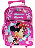 Full Size Pink Minnie Mouse in Red Dress Kids Rolling Backpack