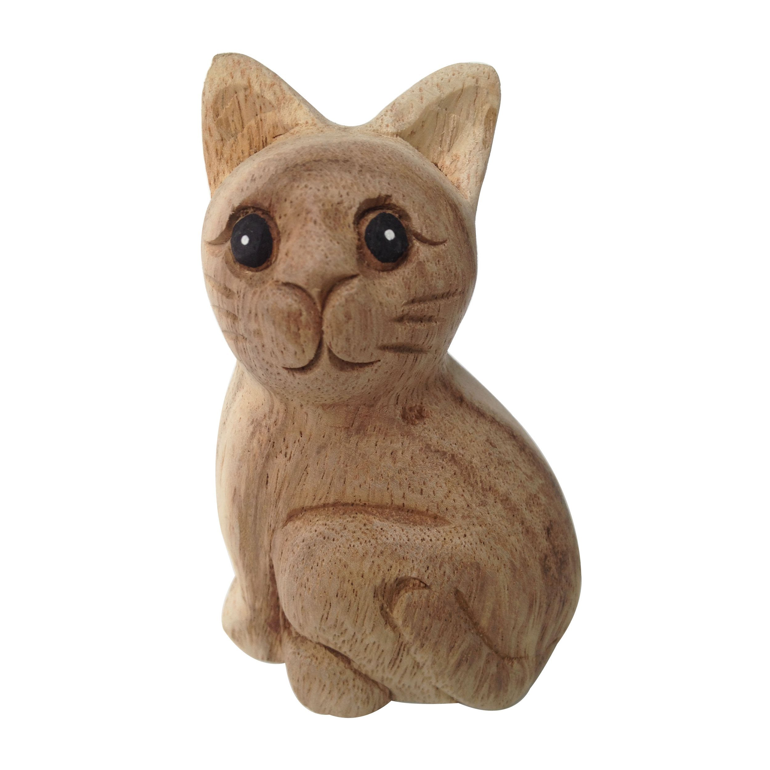 Wood For Décor Wooden Animal Carving Cat Décor Mimosa Wood in Modern Style 5