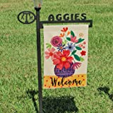 DOLOPL Welcome Garden Flag 12.5x18 Inch Double Sided Verticle Decorative Watercolor Flowers Vase Seasonal Yard House Flag for