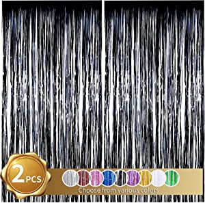 BEISHIDA 2 Pack Foil Fringe Curtain,Black Tinsel Metallic Curtains Photo Backdrop for Wedding Engagement Bridal Shower Birthday Bachelorette Party Stage Decor(3.28 ft x 6.56 ft)