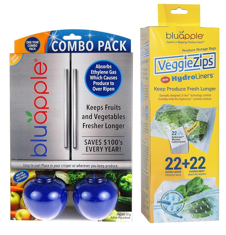 Bluapple and VeggieZips Ultimate Value Pack Produce Preservation Kit Keeps Produce Fresher Longer! Absorbs Ethylene Gas & Regulates Humidity! Save Money Reduce Waste! …
