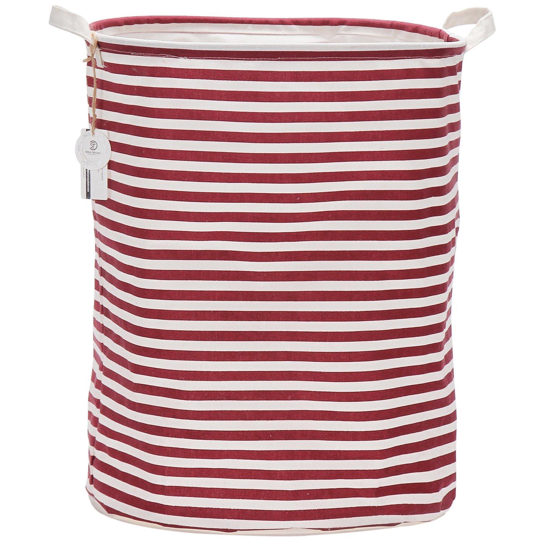 Sea Team 19.7 Large Sized Waterproof Coating Ramie Cotton Fabric Folding Laundry Hamper Bucket Cylindric Burlap Canvas Storage Basket with Stylish Red & White Stripe Design, Navy ST-LH0001A