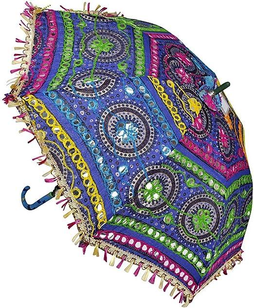ganesham Handicraft- Indio Decorativo Hecho a Mano Funda de algodón Fashion Multi Colored Playa Paraguas de protección UV Paraguas, sombrilla de Sol Paraguas Bordado, Boho Indian Paraguas sombrilla: Amazon.es: Hogar