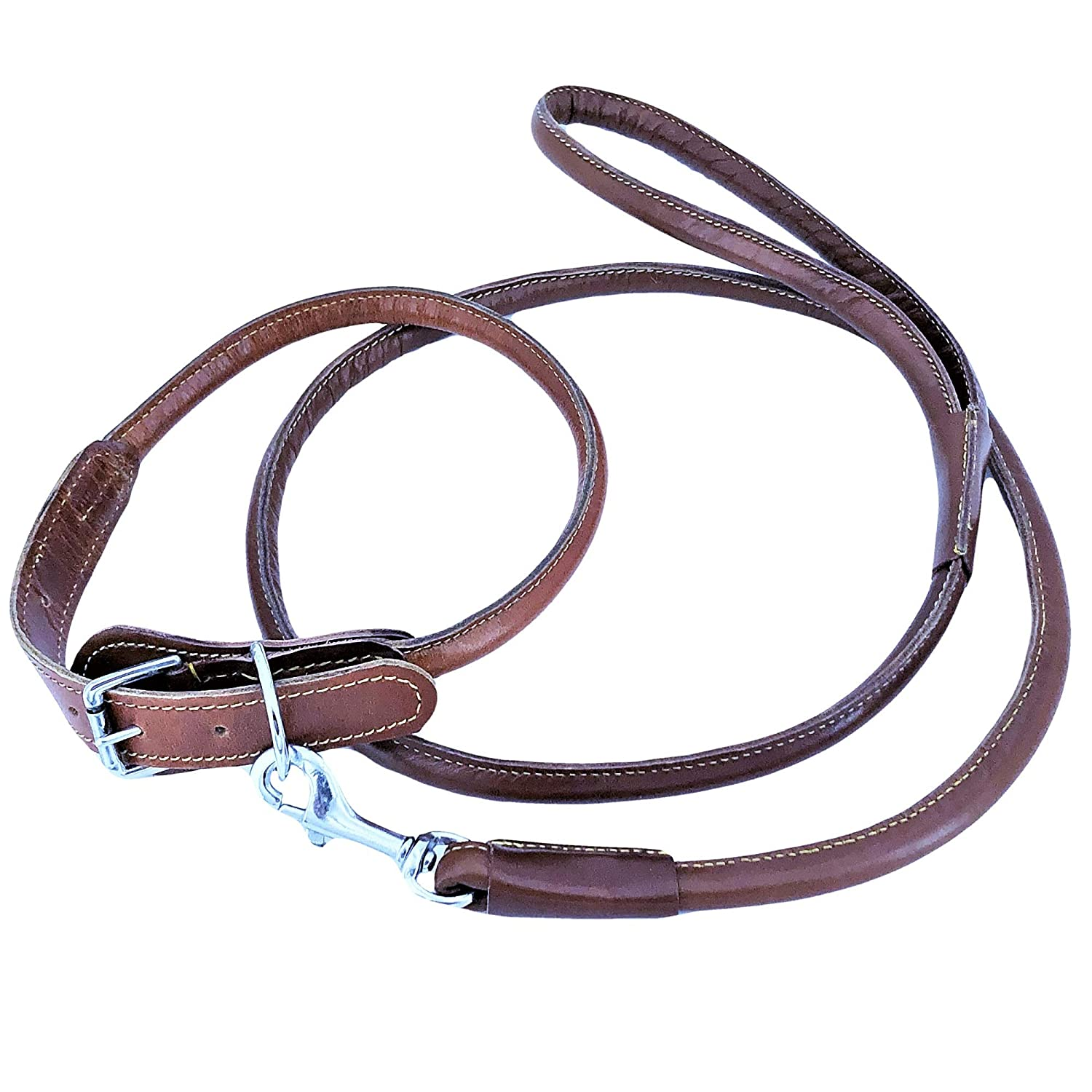 Brown L  Neck 16\ Brown L  Neck 16\ FDC Genuine Leather Round Circle Rolled Dog Collar Leash 4 Ft Training Medium Large Pet (L  Neck 16  18 , Brown)