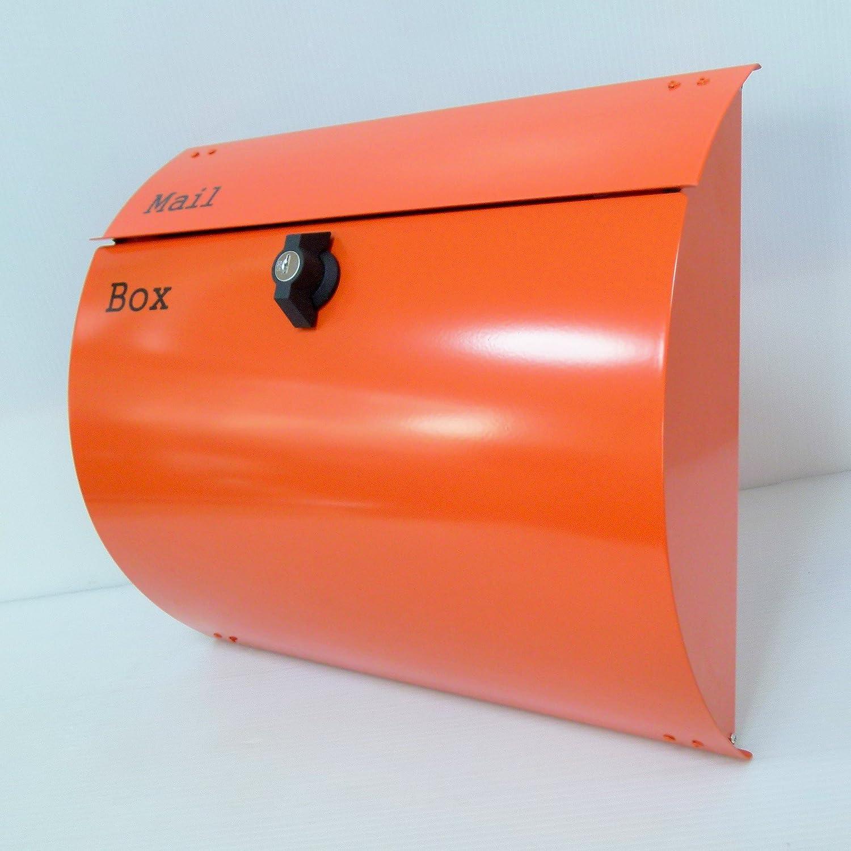 郵便ポスト郵便受け北欧モダンデザインメールボックス壁掛けプレミアムステンレス オレンジ色ポストpm063-1 B07236BS5R 10880