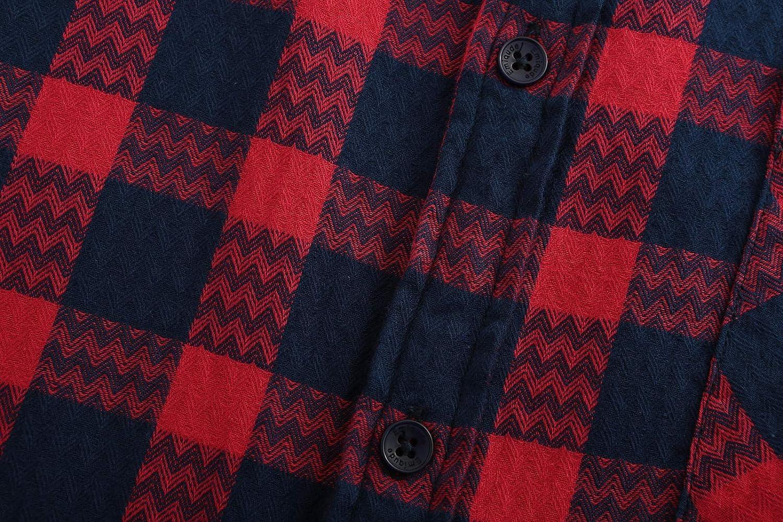 Emiqude Mens Slim Fit 100/% Cotton Casual Long Sleeve Wave Plaid Dress Shirt