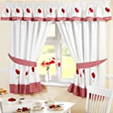 Embroidered Floral Gingham Checked Poppies Pencil Pleat Kitchen Curtains and Tiebacks, Red, 66 x 54-Inch