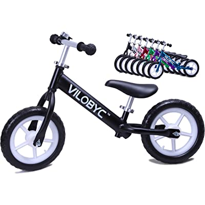 "12"" Anodised Aluminium Alloy Kids Push Ultralight Balance Bike (4.3 lbs) for Chirld 18month to 5years old Bicycle, By Vilobyc 2019"