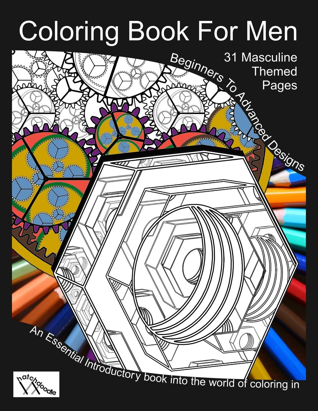 Coloring book for men totally masculine themes patterns and images hatchdoodles standard color in paperback july 4 2017