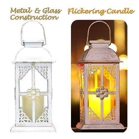Linterna Solar con Vela LED, Diseño Antiguo Elegante en Metal blanco y Vidrio Templado, Hermosa Lámpara de Mesa o Lámpara Colgante, para Exteriores o ...