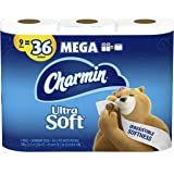Charmin Ultra Soft Toilet Paper, 9 Mega Rolls Bath Tissue = 36 Regular Rolls (Prime Pantry)