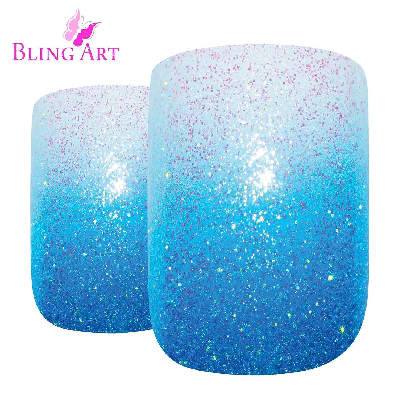 Uñas Postizas Bling Art 24 Azul Gel Ombre Squoval Medio Falsas puntas acrílicas con pegamento: Amazon.es: Belleza