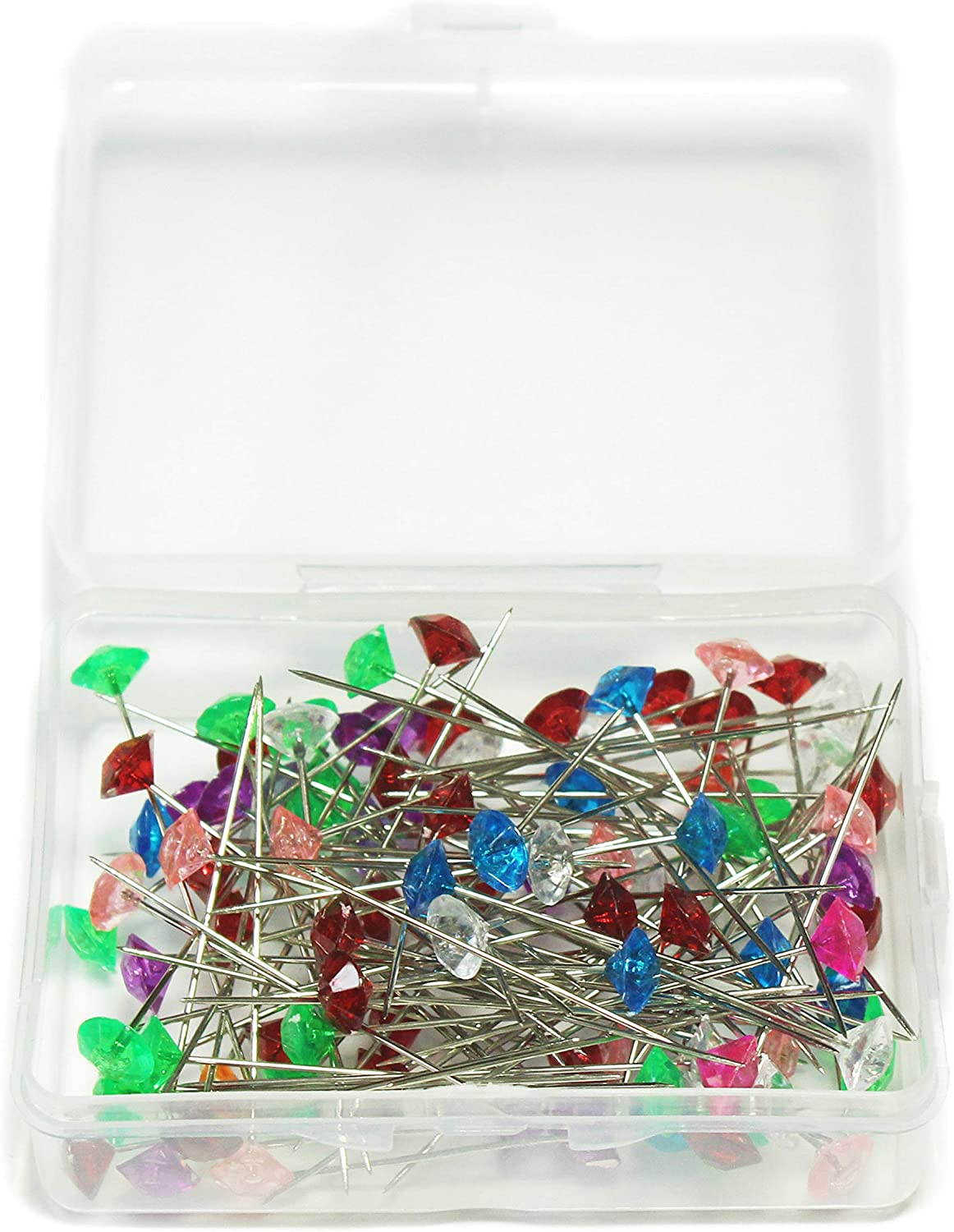 ALL in ONE Mixed Color Sewing Pins Acrylic Crystal Ball Head Pins Straight Pins Quilting Pins for Dressmaker with Box