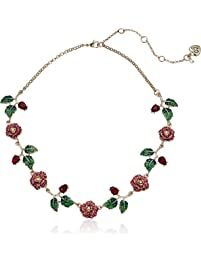 Betsey Johnson (Gbg) Rose & Stone Collar Necklace, Pink, One Size