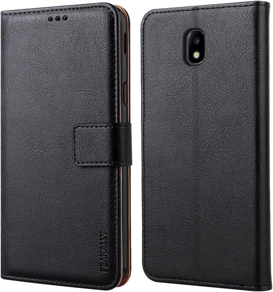 Peakally Funda Samsung Galaxy J3 2017, Premium Cuero Fundas para Samsung Galaxy J3 2017 [Stand Function] [Ranuras para Tarjetas] Piel PU Carcasa Case con Concha Interna Suave 5.0