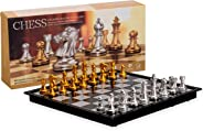 Magnetic Travel Chess Set with Board That Becomes A Storage Compartment – Great Travel Toy Set by Big Mo's Toys