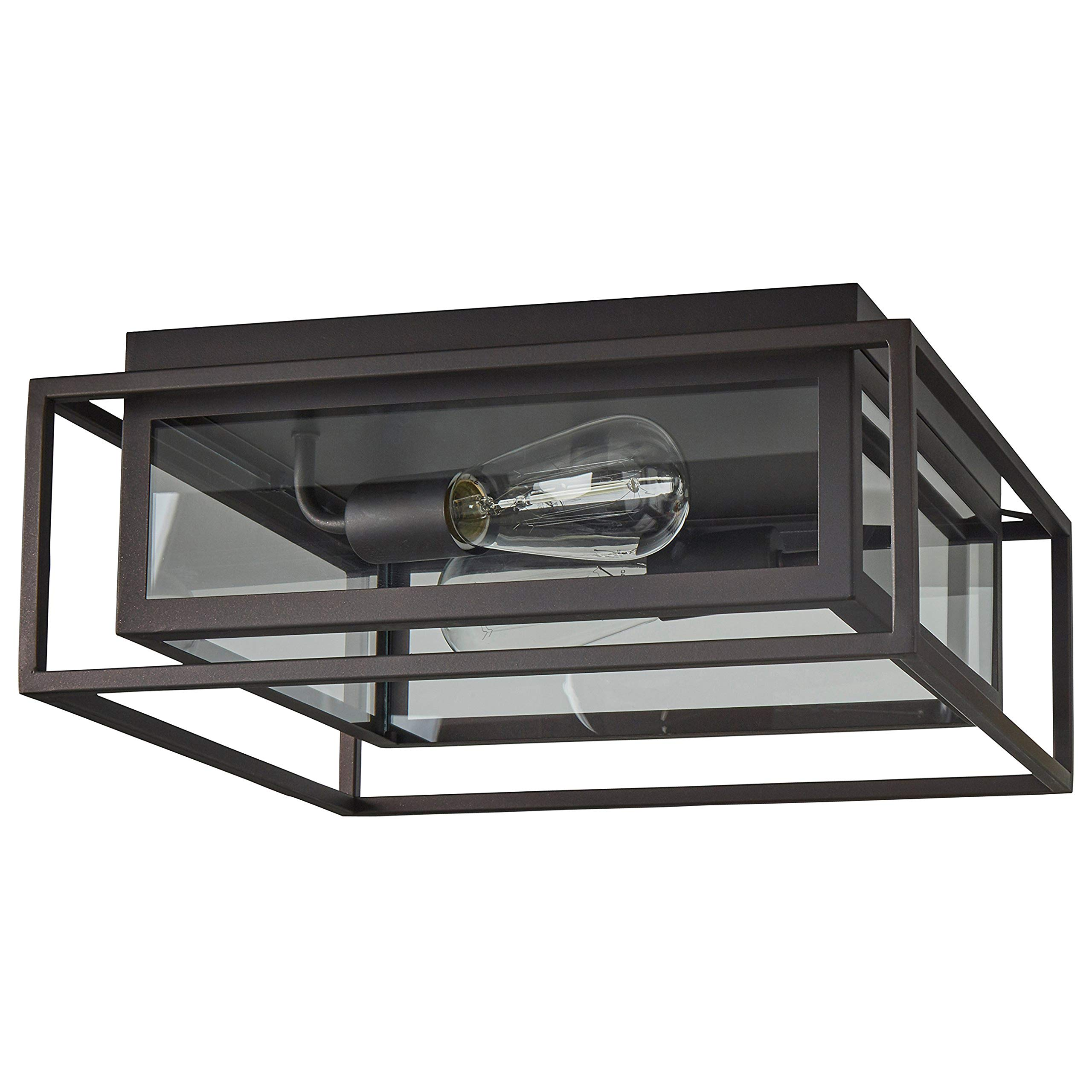 Stone & Beam Industrial Flush Mount Light With Bulbs, 6.5''H, Oil-Rubbed Bronze