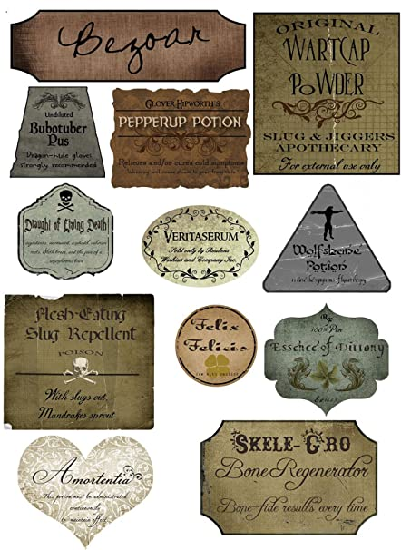 image regarding Harry Potter Potion Book Printable identify Harry Potter Halloween 12 Potion Different Label Stickers Sbooking Crafts