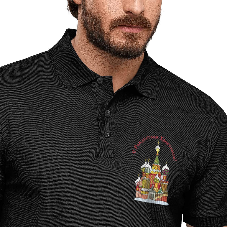 AIKYAN Russian Orthodox Christmas Learn Russian The Fun Way Printed Mens Polo Shirt CottonButton Down