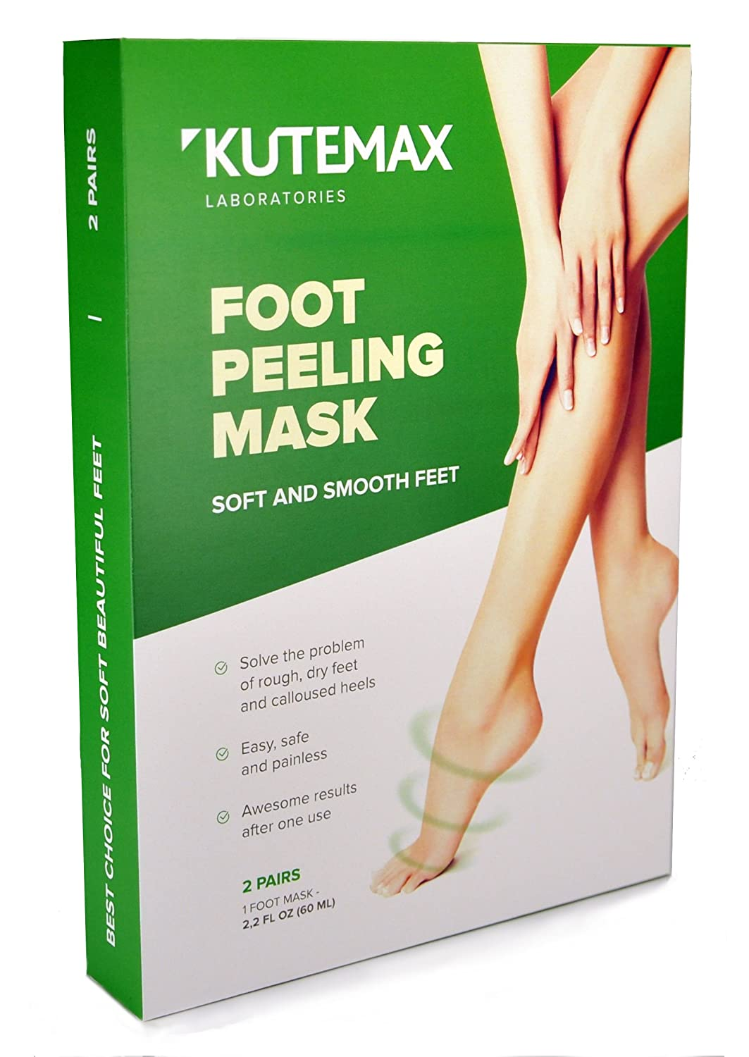 Foot Peel Mask NEW 2018 - Callus and Dead Skin Remover Exfoliation - 2 Pairs of Peeling Socks – Make Your Feet Baby Soft Kutemax