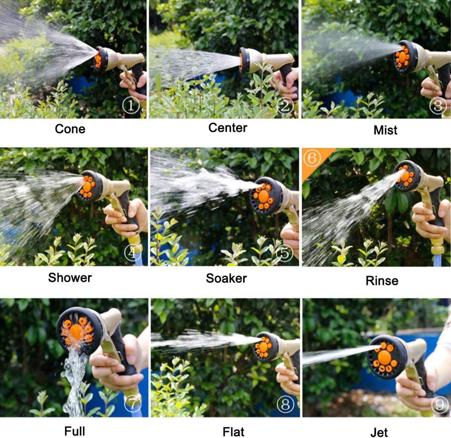 """Garden Hose Nozzle Metal Water Hose Sprayer with 3/4"""" Brass Hose Connector, 9 Adjustable Patterns Garden Nozzle for Lawn and Garden and Car Washing.: Home Improvement"""